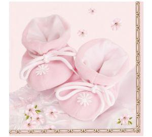 Motivservietten, Servietten, Geburt, Taufe, Schuhe rosa  kaufen