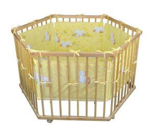 Laufgitter/Laufstall 6-eckig + Einlage Gelb Ente, 3 fach höhenverstellbar, Aus massivem Holz  kaufen