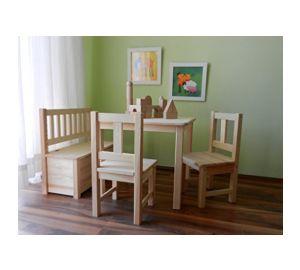 Kindersitzgruppe 1x Kindertisch 2x Kinderstuhl 1x Kindersitzbank UNBEHANDELT MASSIVHOLZ  kaufen