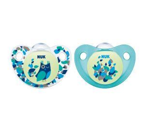 NUK Silikon Schnuller, Night & Day mit nachleuchtendem Knopf, 18-36 Monate, kiefergerecht, BPA-frei, 2 Stück, blau/türkis  kaufen