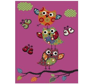 Kinderteppich – niedliche Eulen pink und andere Farben – 120×170 cm  kaufen