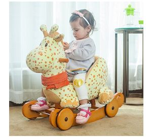 Labebe Baby Schaukelpferd Holz, 2-in-1 Schaukelpferd mit Räder, Schaukeltier Giraffe Gelbe für Baby 1-3 Jahre Alt, Schaukel Pferd/Schaukel Baby/Schaukeltier Musik/Schaukel Kinder/Schaukel Spielzeug online kaufen