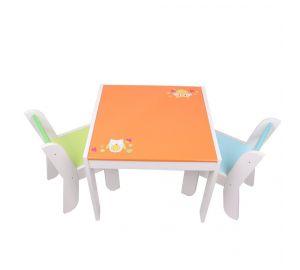 Labebe - Kinder Sitzgruppe Eule - mit einem Kindertisch und zwei Stühlen aus Holz online kaufen